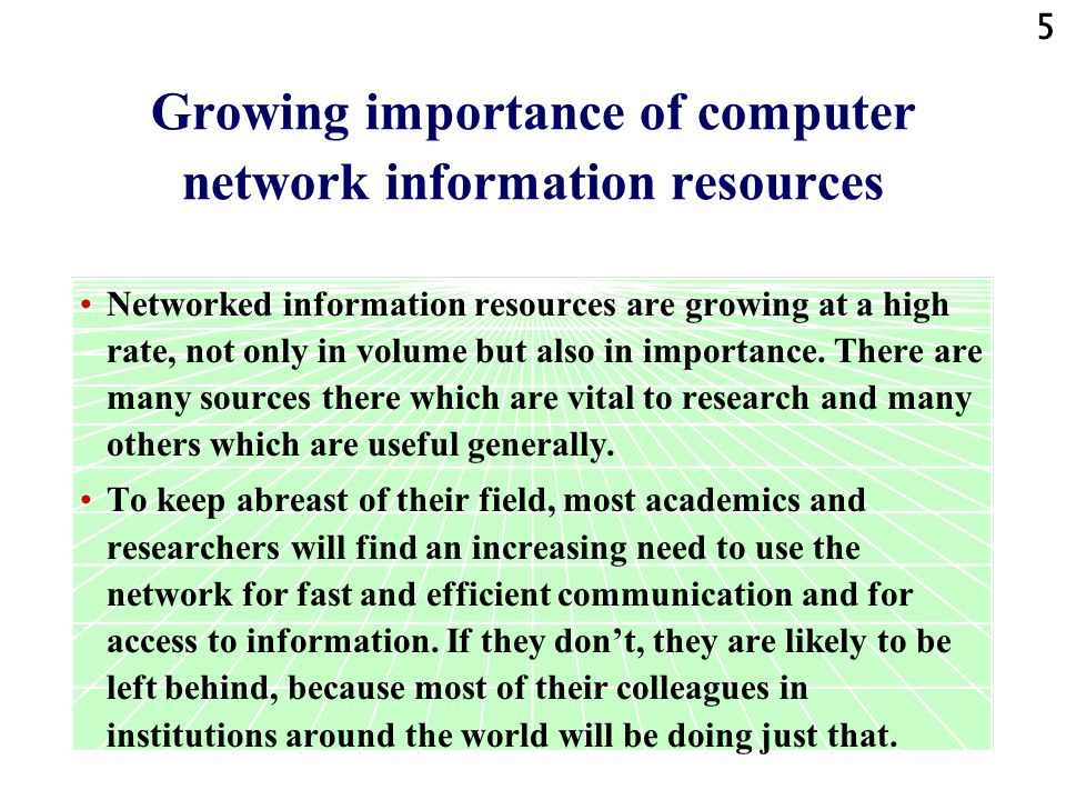 Growing importance of computer network information resources