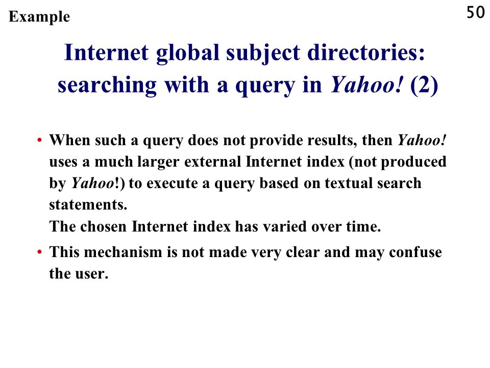 Example Internet global subject directories: searching with a query in Yahoo! (2)