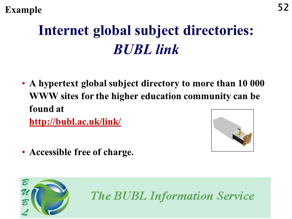 Internet global subject directories: BUBL link