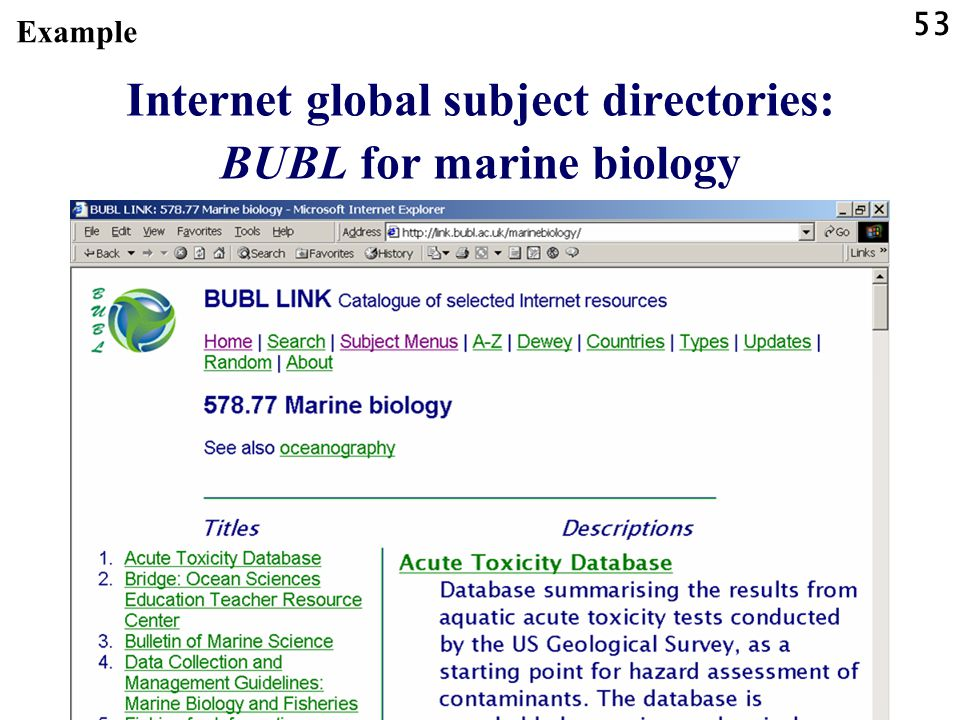 Internet global subject directories: BUBL for marine biology