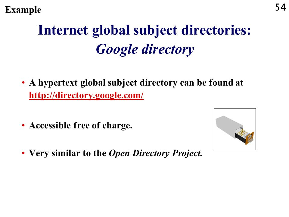 Internet global subject directories: Google directory