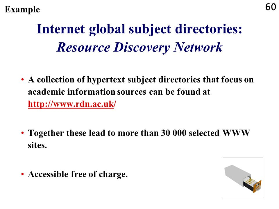 Internet global subject directories: Resource Discovery Network