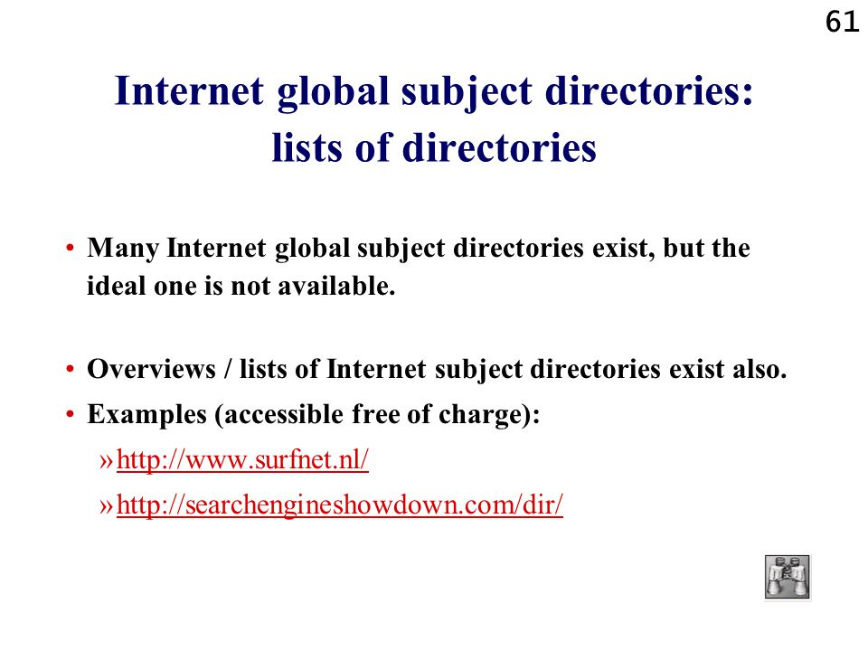 Internet global subject directories: lists of directories