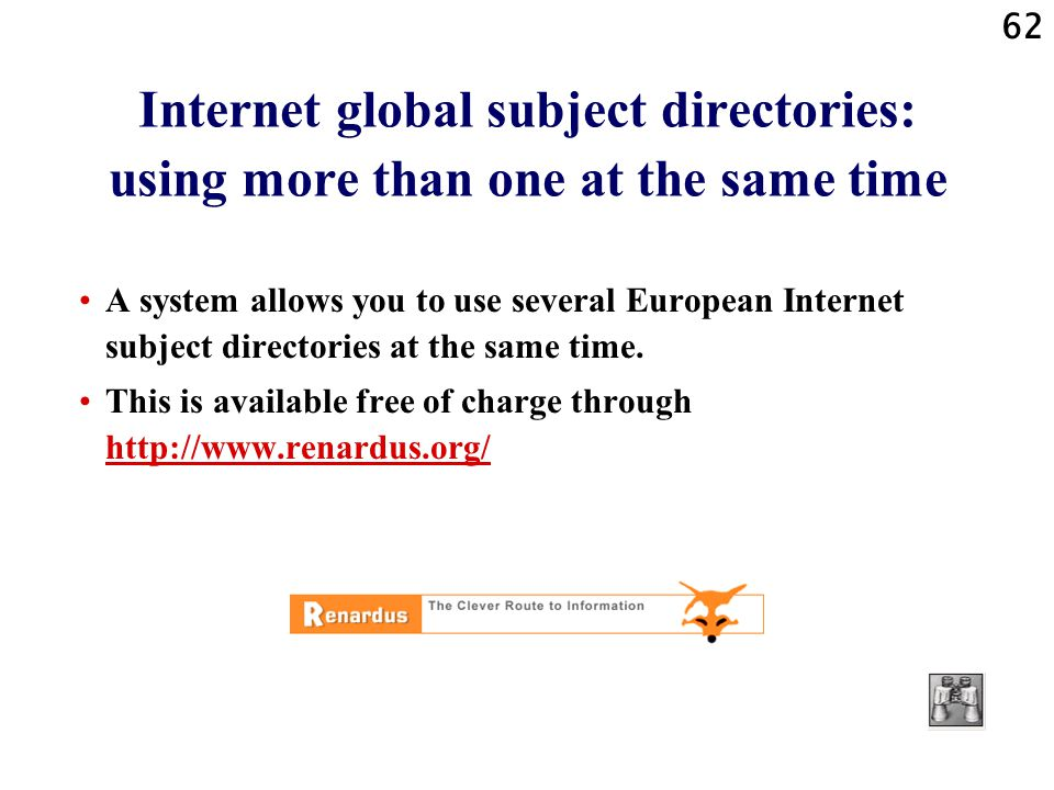 Internet global subject directories: using more than one at the same time