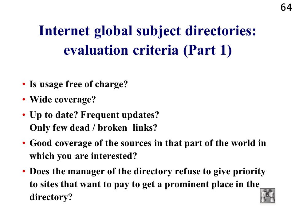 Internet global subject directories: evaluation criteria (Part 1)