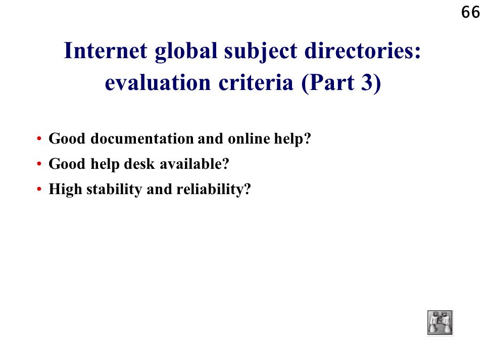 Internet global subject directories: evaluation criteria (Part 3)