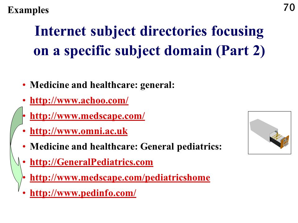 Examples Internet subject directories focusing on a specific subject domain (Part 2) Medicine and healthcare: general:
