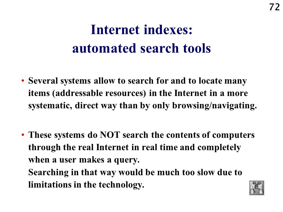 Internet indexes: automated search tools