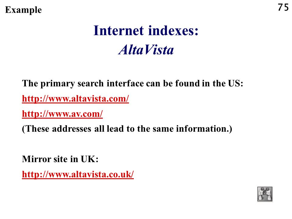 Internet indexes: AltaVista