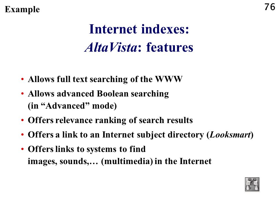 Internet indexes: AltaVista: features