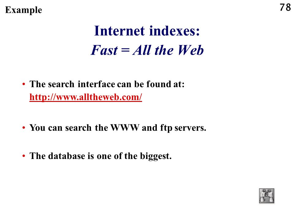 Internet indexes: Fast = All the Web