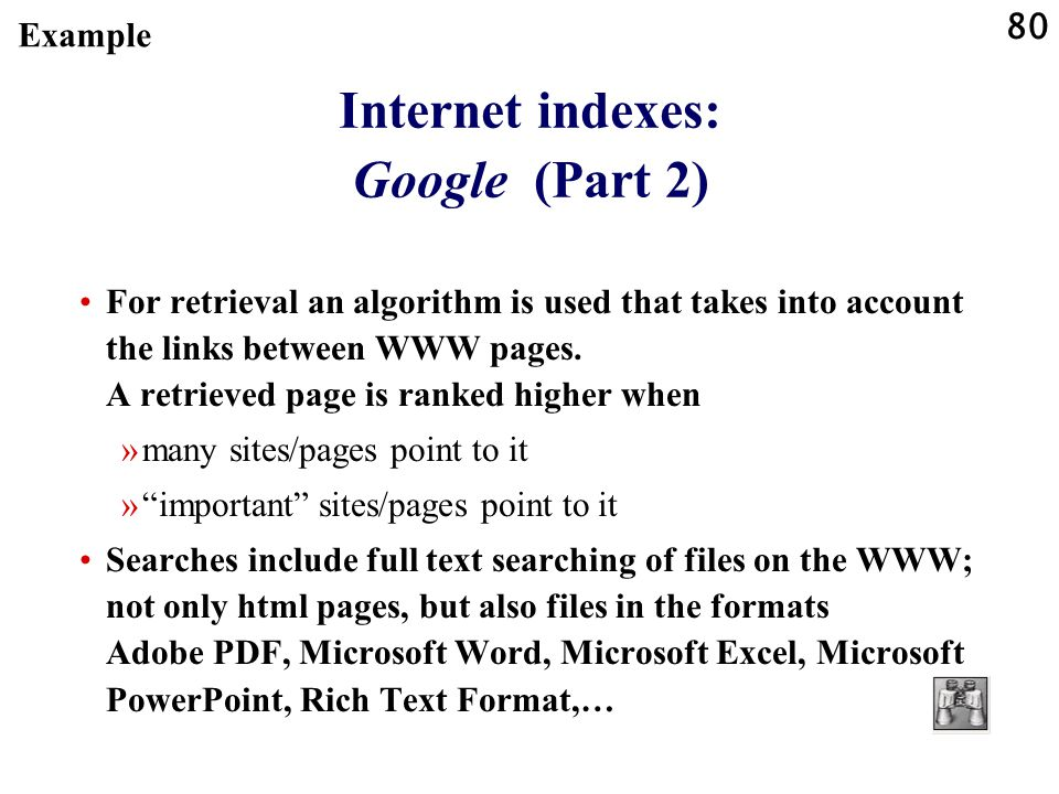 Internet indexes: Google (Part 2)