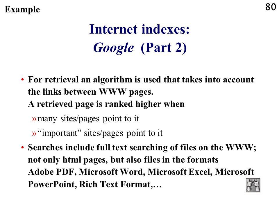 Internet indexes: Google (Part 2)