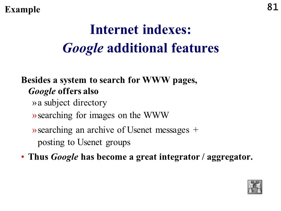 Internet indexes: Google additional features
