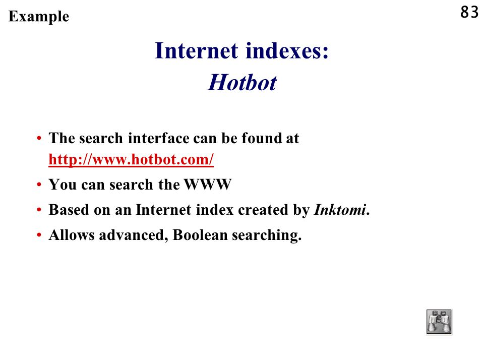 Internet indexes: Hotbot