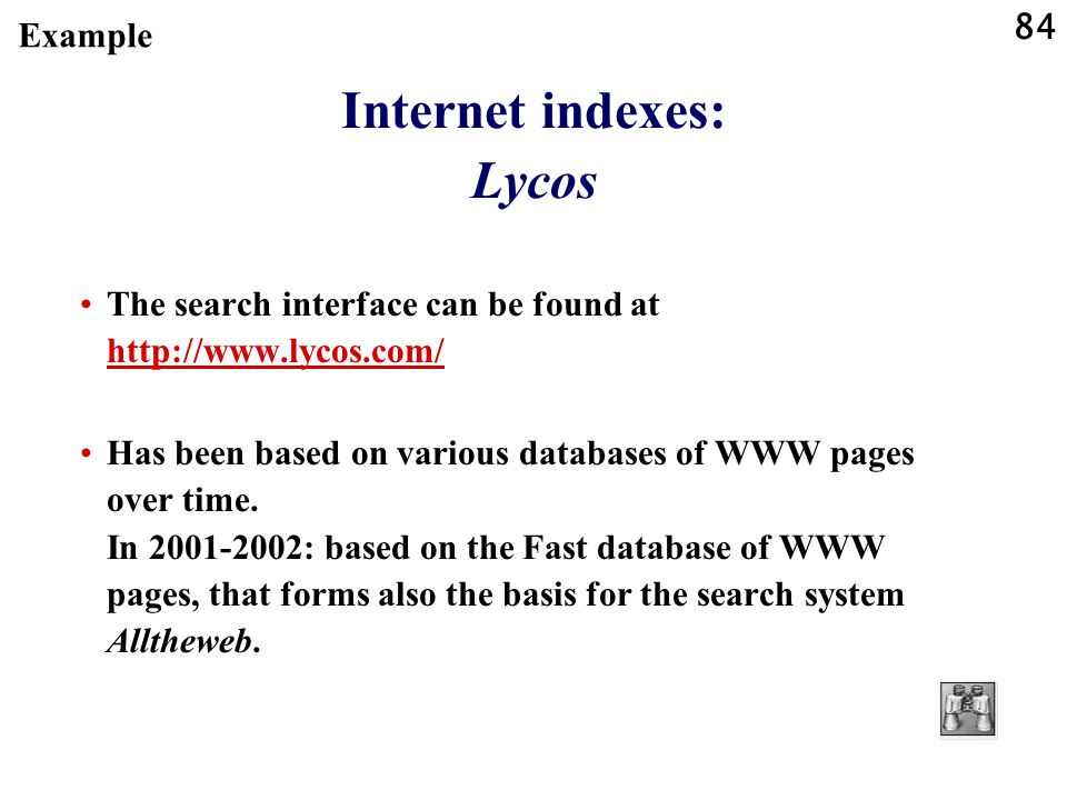 Internet indexes: Lycos