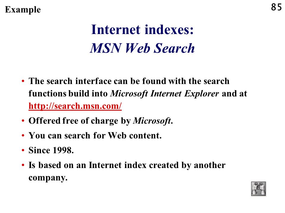 Internet indexes: MSN Web Search
