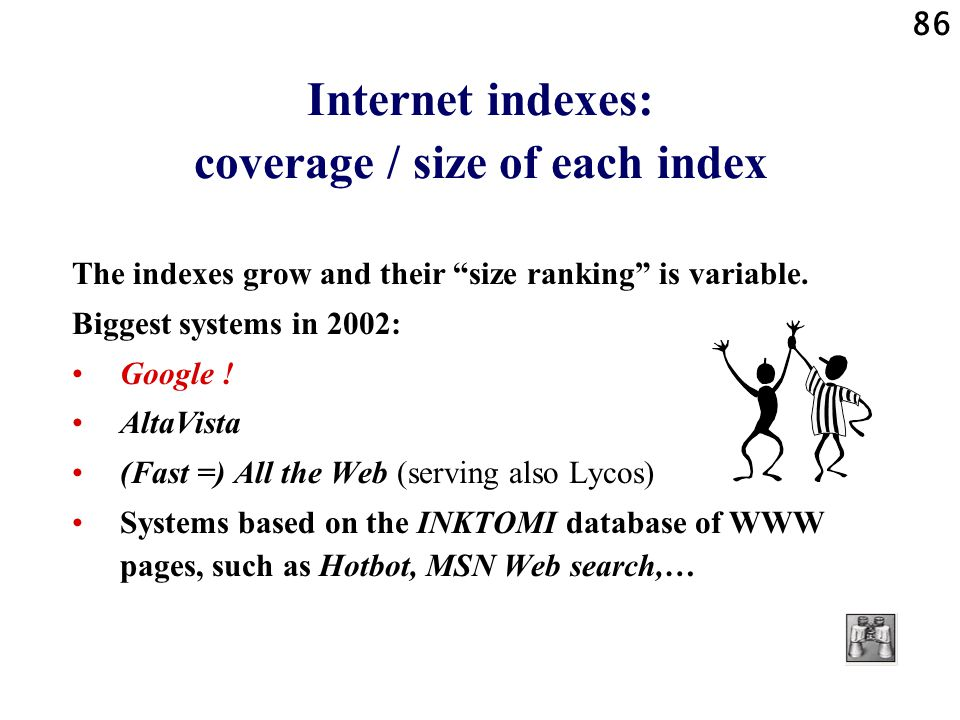 Internet indexes: coverage / size of each index
