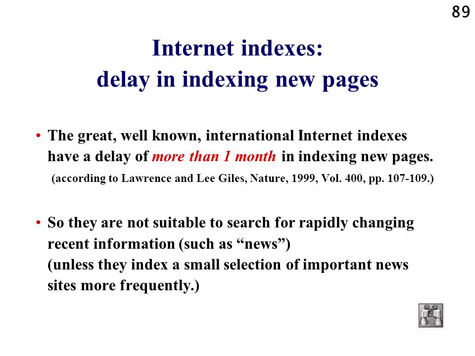 Internet indexes: delay in indexing new pages