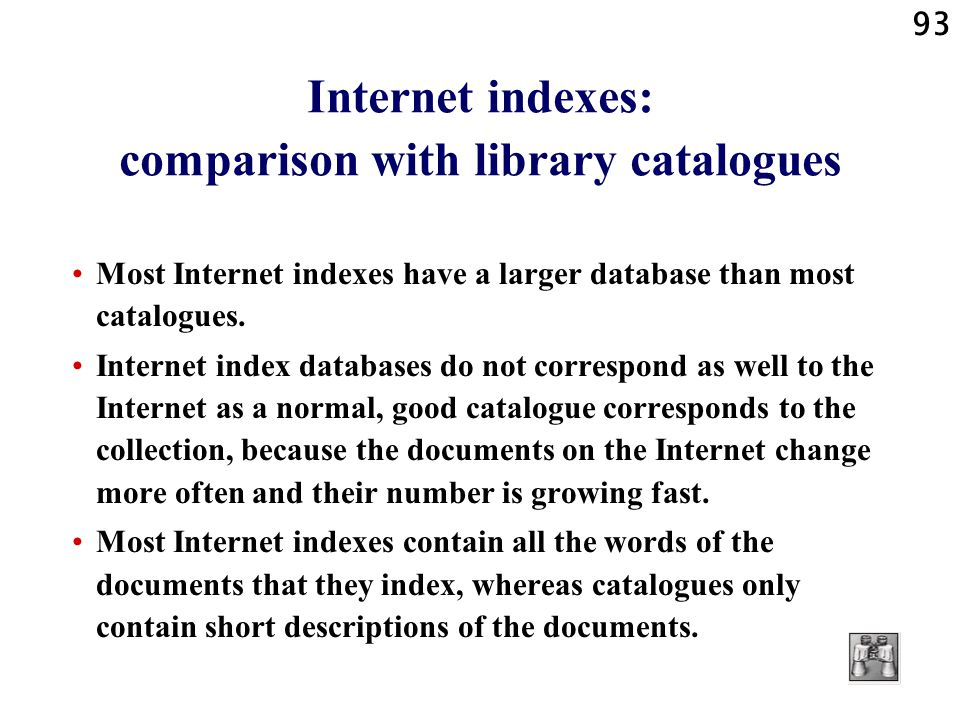 Internet indexes: comparison with library catalogues