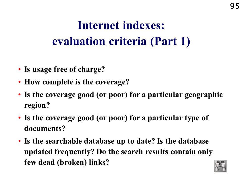 Internet indexes: evaluation criteria (Part 1)