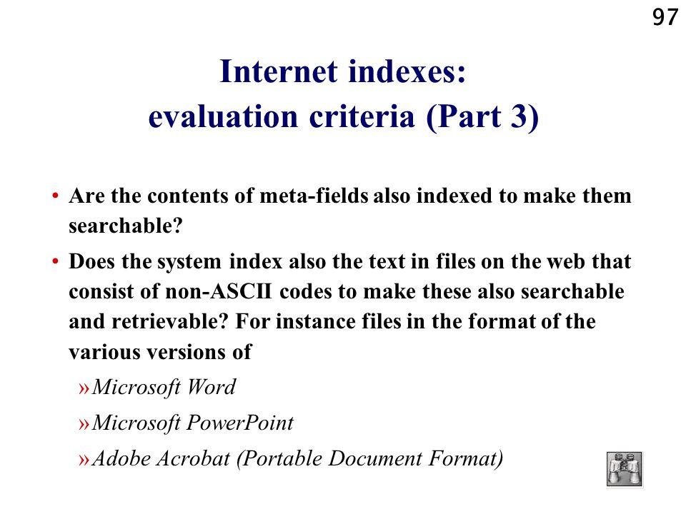 Internet indexes: evaluation criteria (Part 3)