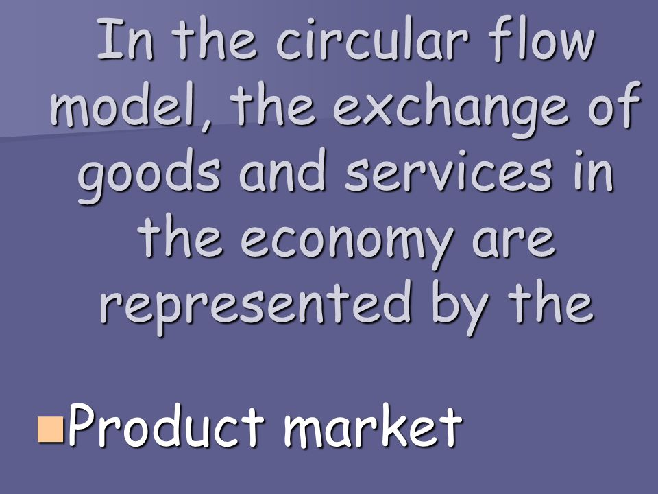 In the circular flow model, the exchange of goods and services in the economy are represented by the