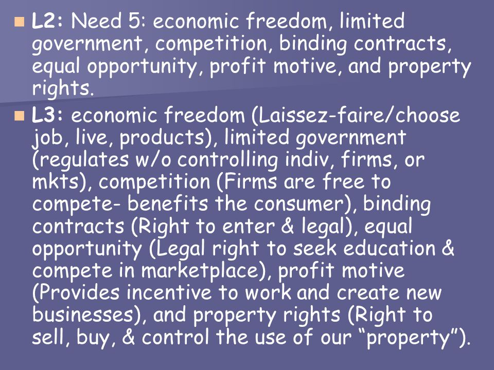 L2: Need 5: economic freedom, limited government, competition, binding contracts, equal opportunity, profit motive, and property rights.