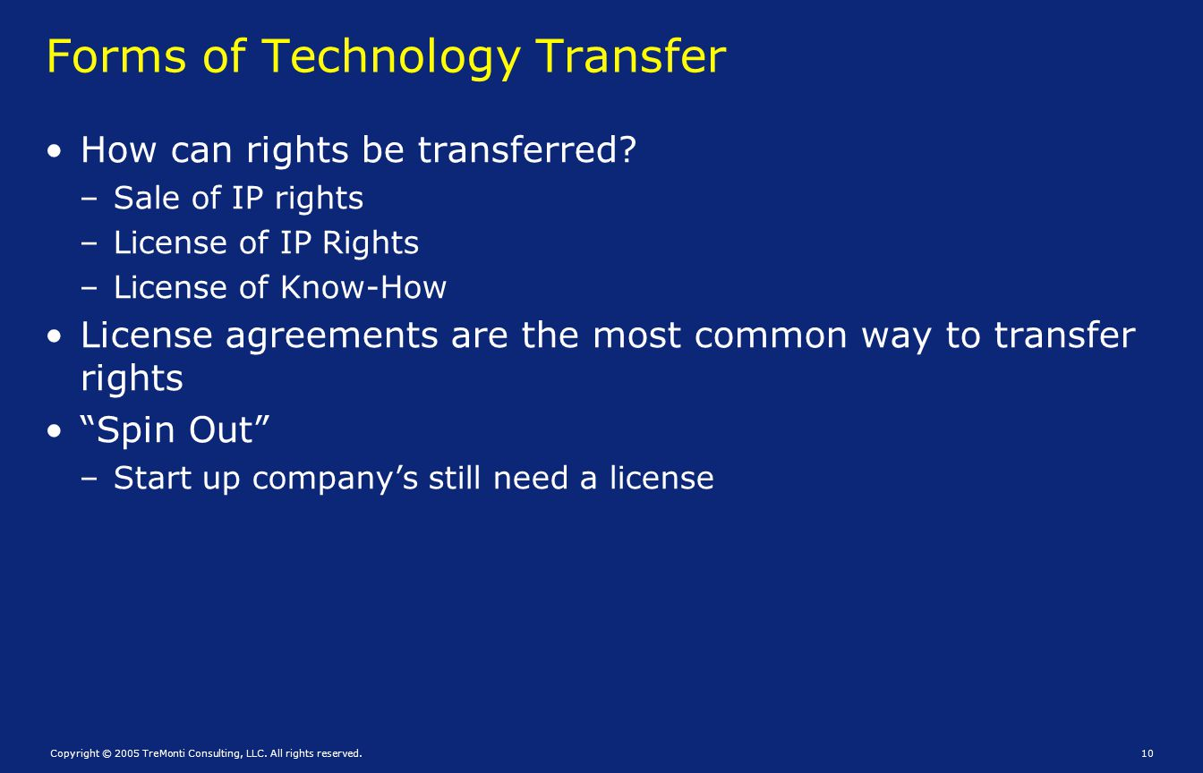 Forms of Technology Transfer