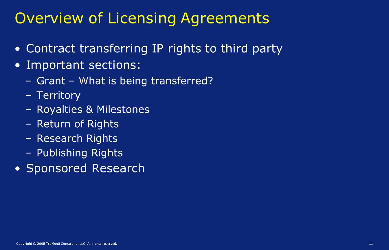 Overview of Licensing Agreements