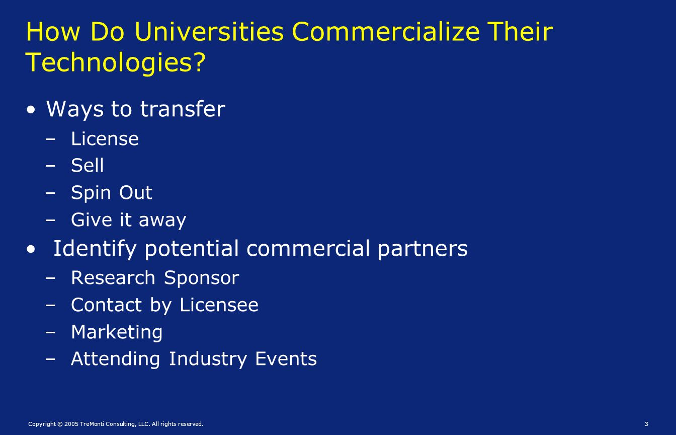 How Do Universities Commercialize Their Technologies