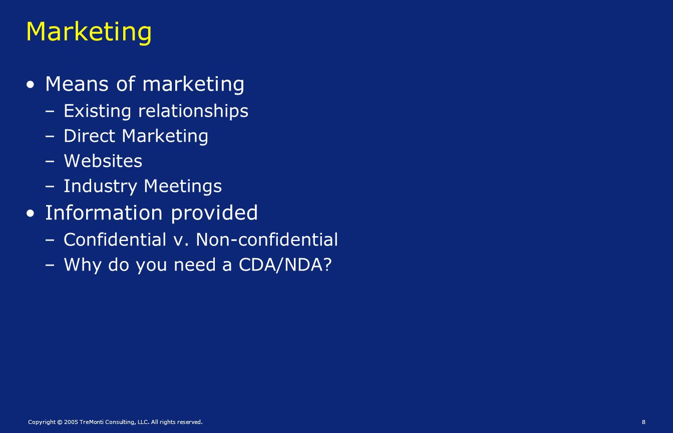 Marketing Means of marketing Information provided