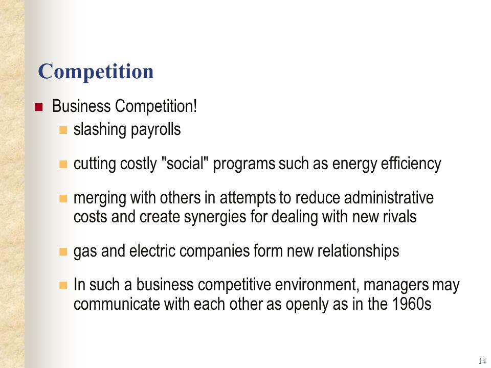 Competition Business Competition! slashing payrolls