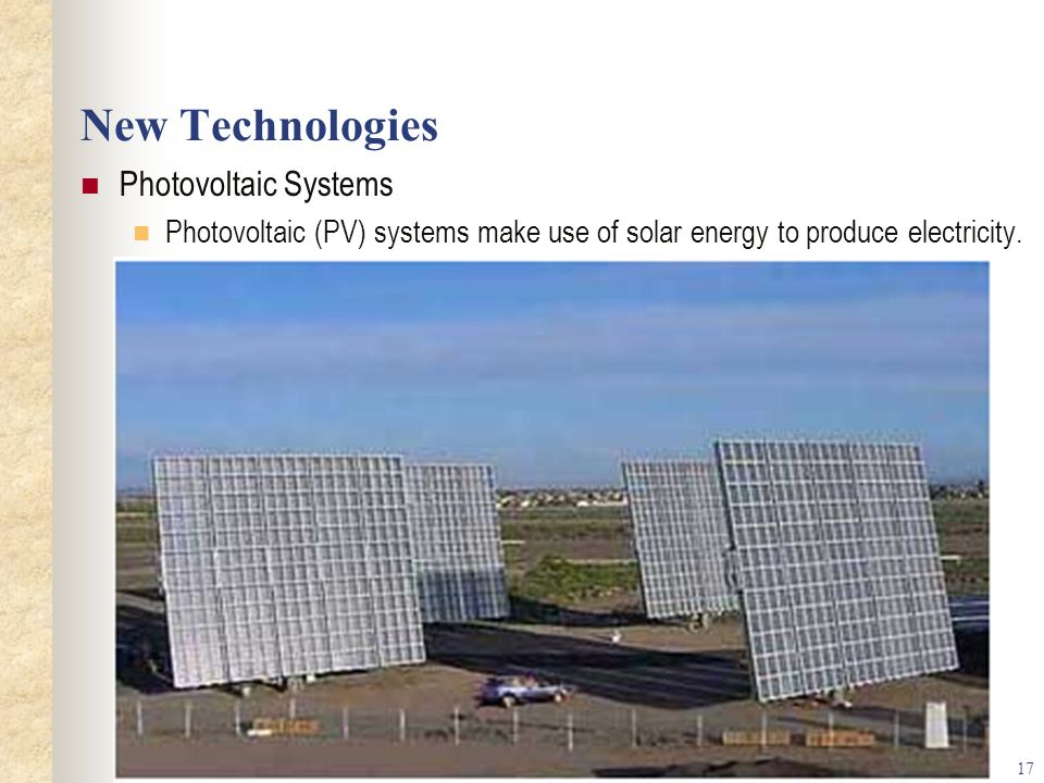 New Technologies Photovoltaic Systems
