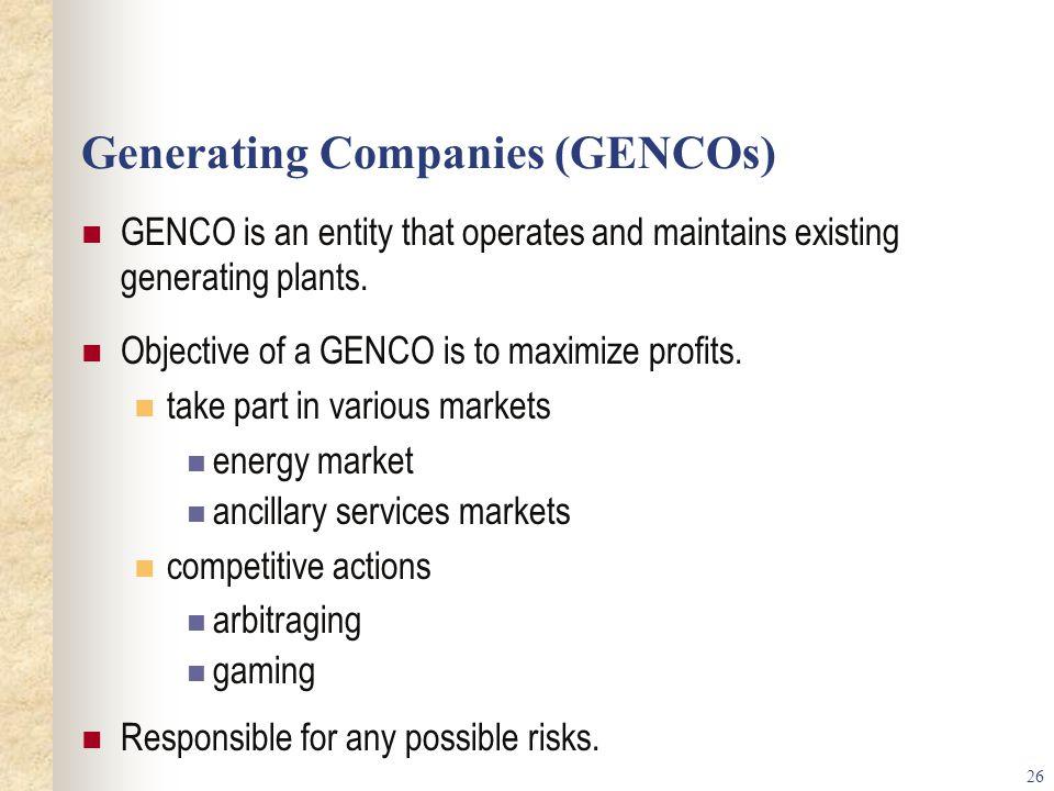 Generating Companies (GENCOs)