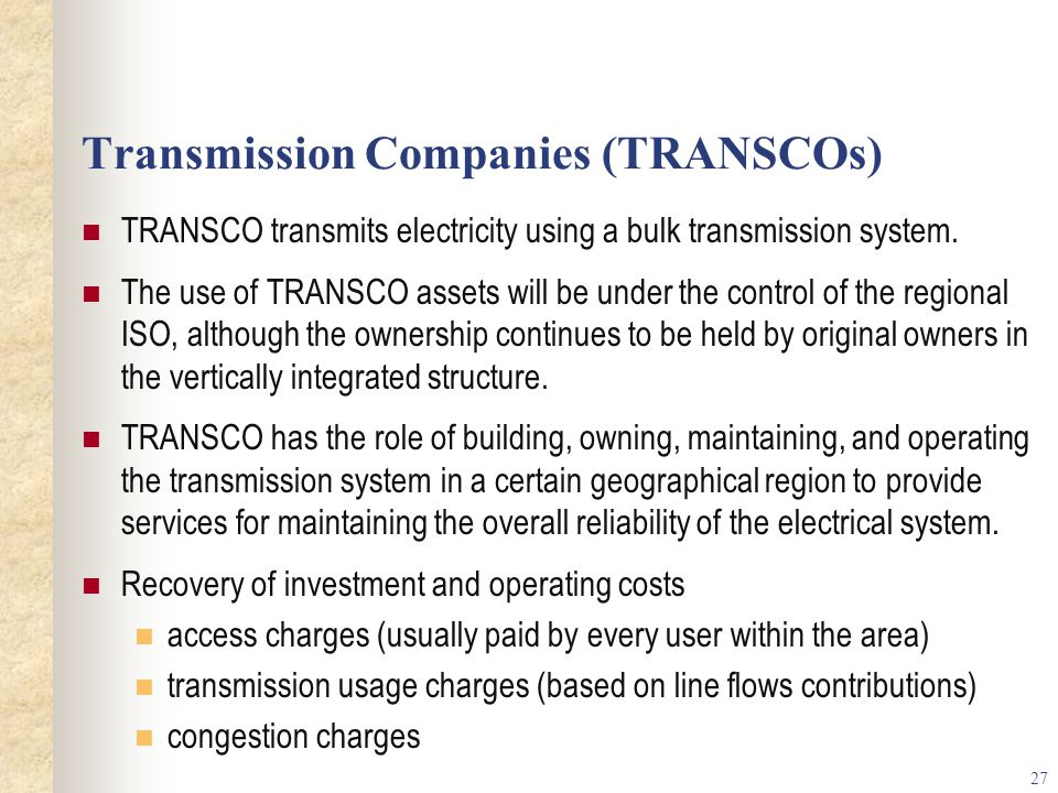 Transmission Companies (TRANSCOs)
