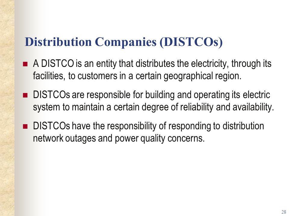 Distribution Companies (DISTCOs)