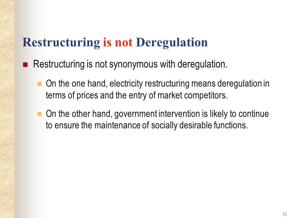 Restructuring is not Deregulation