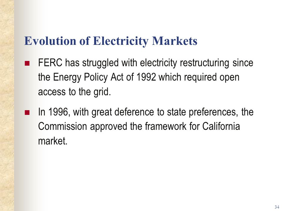 Evolution of Electricity Markets