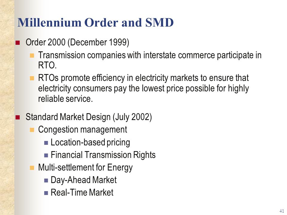 Millennium Order and SMD