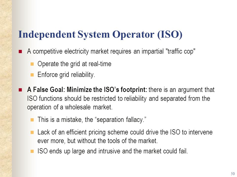 Independent System Operator (ISO)