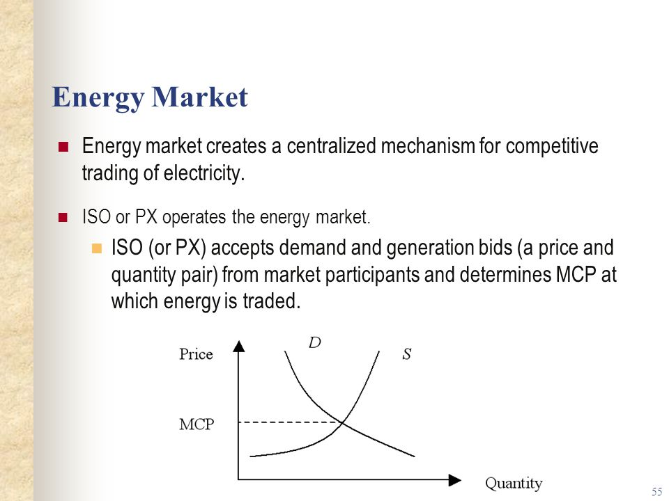 Energy Market Energy market creates a centralized mechanism for competitive trading of electricity.
