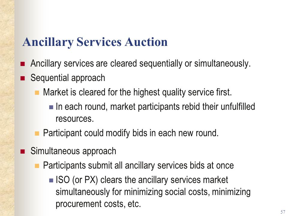 Ancillary Services Auction