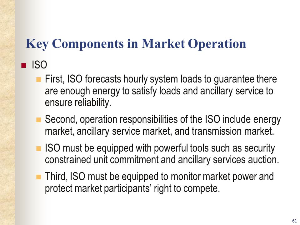Key Components in Market Operation