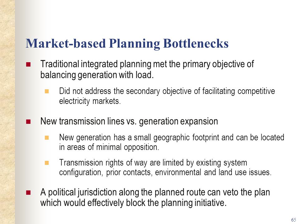 Market-based Planning Bottlenecks
