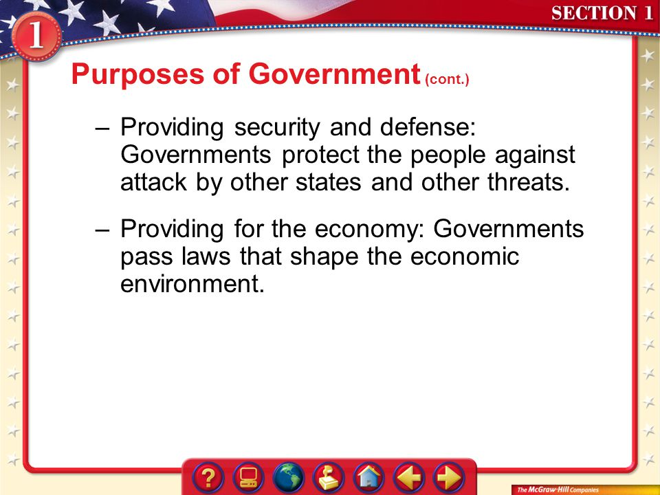Purposes of Government (cont.)