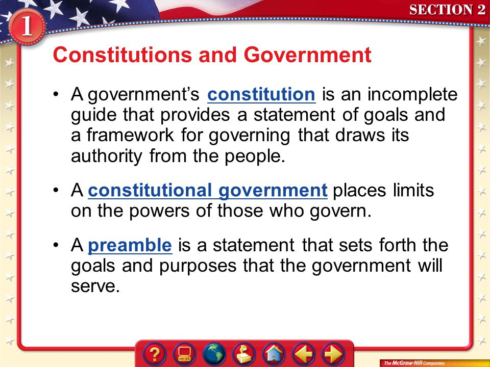 Constitutions and Government