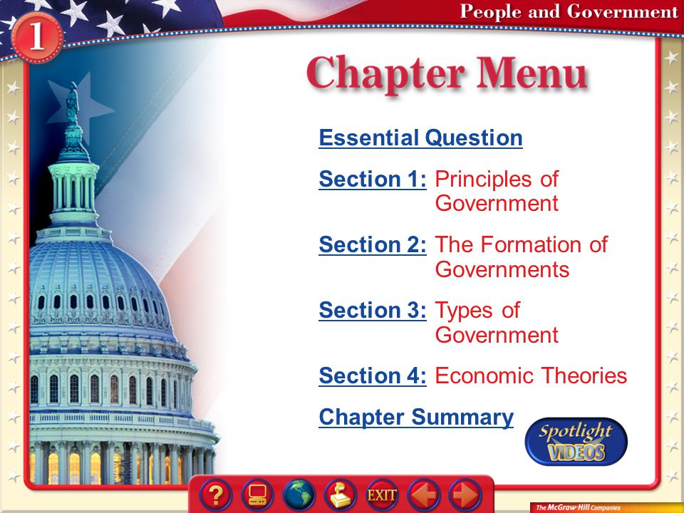 Section 1: Principles of Government