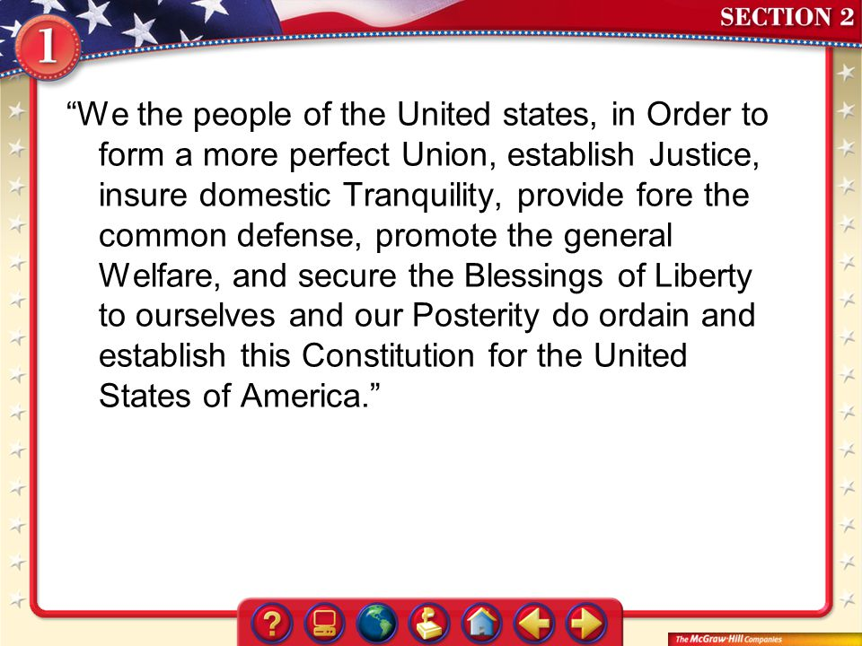 We the people of the United states, in Order to form a more perfect Union, establish Justice, insure domestic Tranquility, provide fore the common defense, promote the general Welfare, and secure the Blessings of Liberty to ourselves and our Posterity do ordain and establish this Constitution for the United States of America.