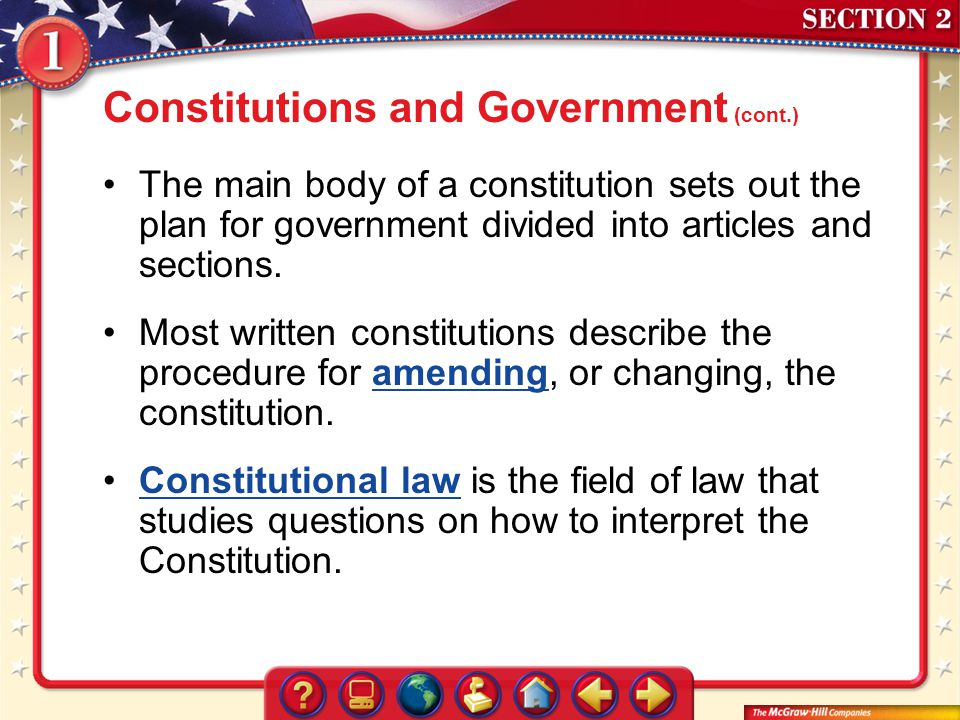 Constitutions and Government (cont.)